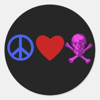Peace Love Pirates T-shirts, Mugs, Gifts Classic Round Sticker