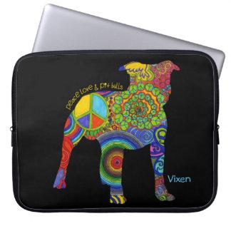 """Peace Love & Pit Bulls"" Pop Art Laptop Sleeve"