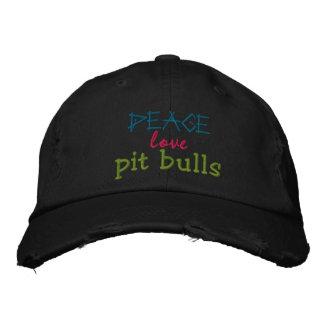 peace, love, pit bulls rugged cap