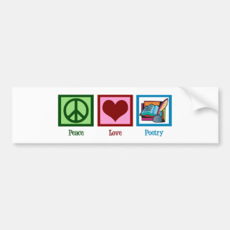 Peace Love Poetry Bumper Sticker