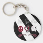 Peace Love Poker Basic Round Button Keychain