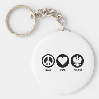 Peace Love Poland Keychain