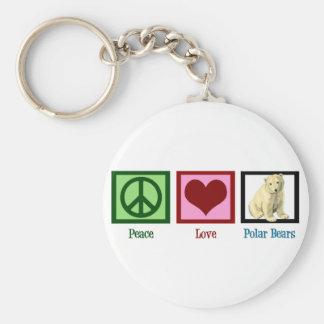 Peace Love Polar Bears Basic Round Button Keychain