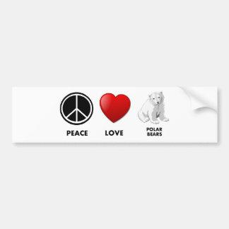 peace love polar bears Save the bears Bumper Sticker