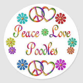 PEACE LOVE POODLES ROUND STICKER