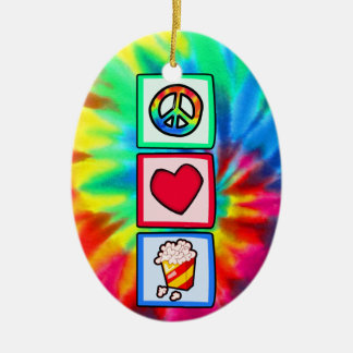 Peace, Love, Popcorn Double-Sided Oval Ceramic Christmas Ornament