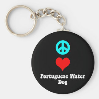 Peace love Portuguese Water Dog Basic Round Button Keychain