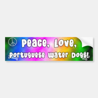 Peace Love Portuguese Water Dogs Bumper Sticker