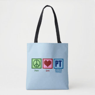 Peace Love PT Physical Therapy Tote Bag