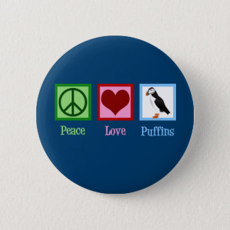 Peace Love Puffins 2 Inch Round Button