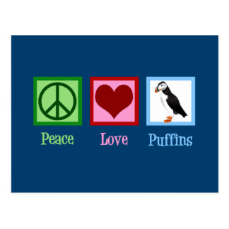 Peace Love Puffins Postcard
