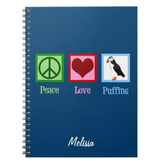 Peace Love Puffins Spiral Notebook