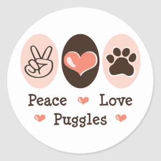 Peace Love Puggles Stickers