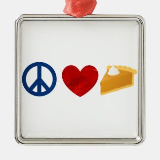 Peace, Love, Pumpkin Pie Metal Ornament