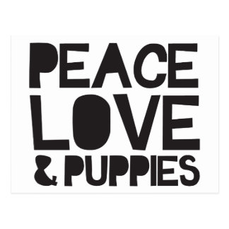 Peace Love & Puppies Postcard