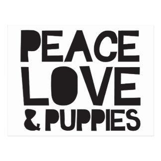 Peace Love & Puppies Postcard