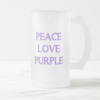 Peace Love Purple Frosted Mug