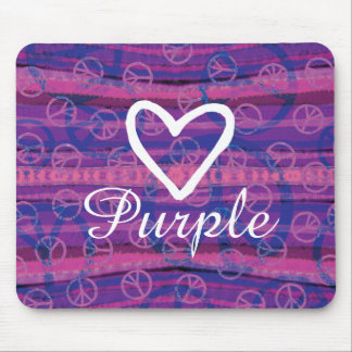 Peace Love Purple Mouse Pad