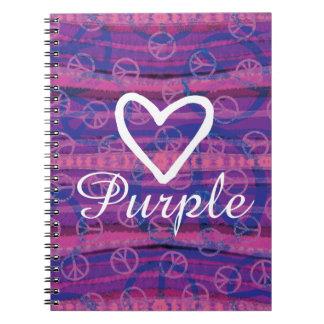 Peace Love Purple Spiral Notebook