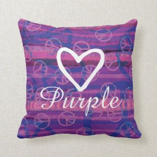 Peace Love Purple Throw Pillow