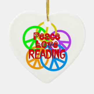 Peace Love Reading Ceramic Ornament