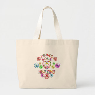 Peace Love Reading Large Tote Bag