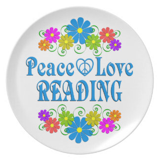 Peace Love Reading Plate