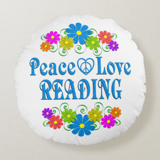 Peace Love Reading Round Pillow