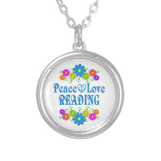 Peace Love Reading Silver Plated Necklace