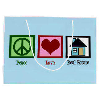 Peace Love Real Estate Large Gift Bag