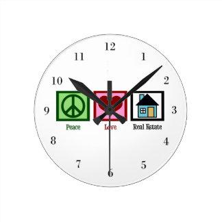 Peace Love Real Estate Round Clock
