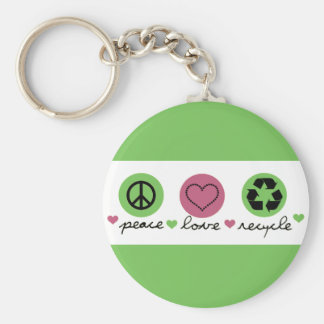 Peace, Love, Recycle. Keychain