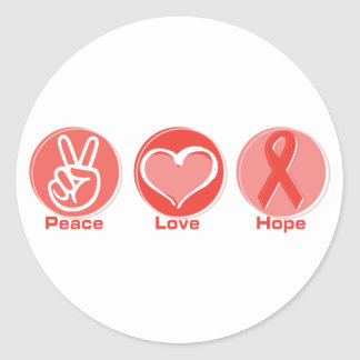 Peace Love Red Ribbon Hope Classic Round Sticker