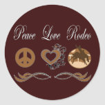 Peace Love Rodeo Classic Round Sticker