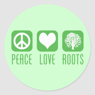 PEACE LOVE ROOTS ROUND STICKER