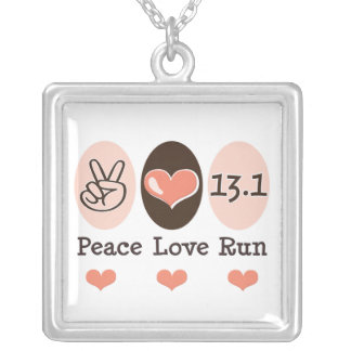 Peace Love Run 13.1 Sterling Silver Necklace