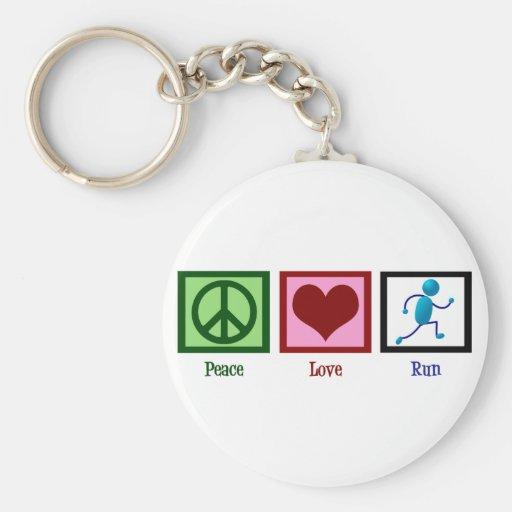 Peace Love Run Key Chain