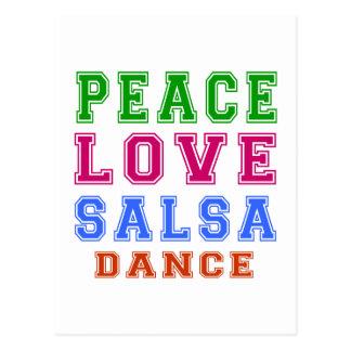 Peace Love Salsa Dance Postcard