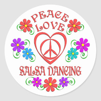 Peace Love Salsa Dancing Classic Round Sticker
