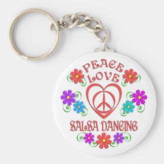 Peace Love Salsa Dancing Keychain