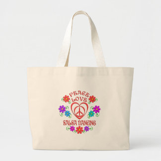 Peace Love Salsa Dancing Large Tote Bag