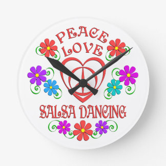 Peace Love Salsa Dancing Round Clock
