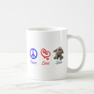 Peace, Love, Sam the Sheep Coffee Mug