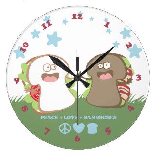 peace love sandwiches diversity kitchen clock