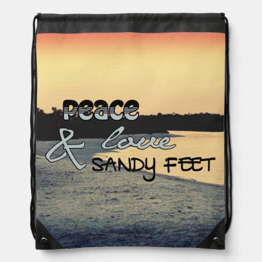 Peace Love & Sandy Feet Bag Cinch Bag