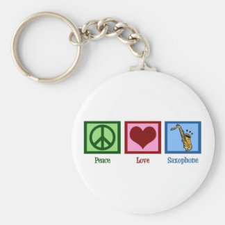 Peace Love Saxophone Basic Round Button Keychain