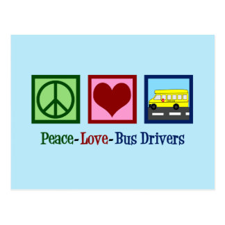 Peace Love School Bus Driver Postcard