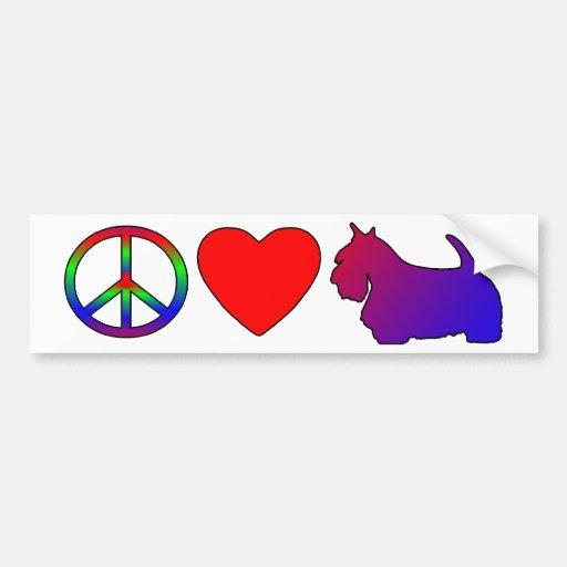 Peace Love Scotties Bumper Sticker