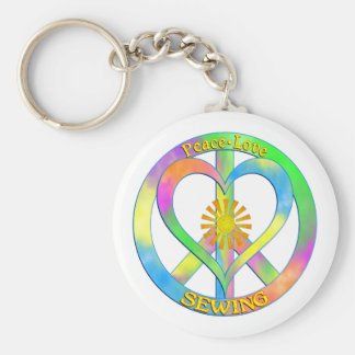 Peace Love Sewing Basic Round Button Keychain