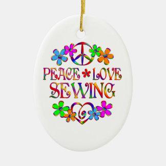 Peace Love Sewing Ceramic Ornament